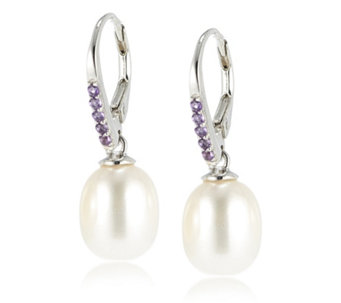 Honora 9-9.5mm Cultured Pearl & Gemstone Leverback Earrings Sterling Silver - 308835