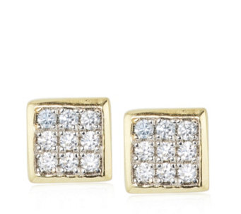 Diamonique 0.1ct tw Pave Square Stud Earrings Sterling Silver - 311535