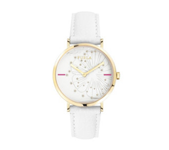 Furla Ladies Giada Scattered Crystal Leather Strap Watch - 314935