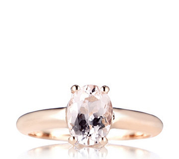 1ct Morganite Oval Solitaire Ring Rose Gold Vermeil Sterling Silver - 308836