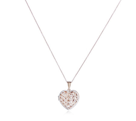 3.6ct Morganite Heart Locket & Chain Rose Gold Vermeil Sterling Silver