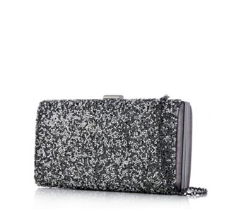 Frank Usher Glitter Clutch Bag with Removable Strap - 305337