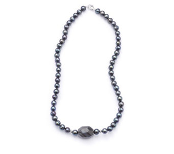 Honora 7-8mm Cultured Pearl Gem Stone Necklace Sterling Silver - 307137