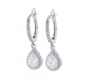 Diamonique 1.7ct tw Pear Cut Leverback Earrings Sterling Silver - 309837