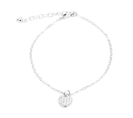 Diamonqiue 0.1ct tw Heart 19.5cm Bracelet Sterling Silver