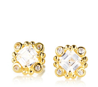 Diamonique 1.2ct tw Gold Plated Stud Earrings Sterling Silver - 314437