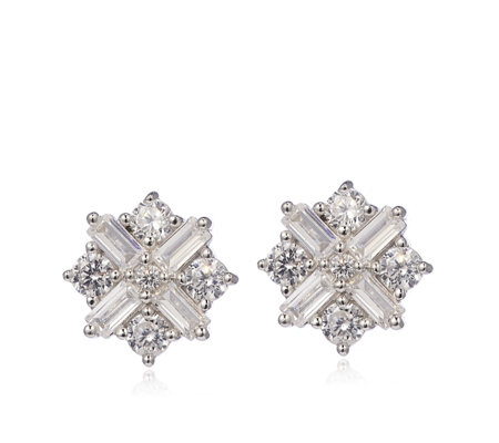 Diamonique by Tova 1.7ct tw Star Stud Earrings Sterling Silver