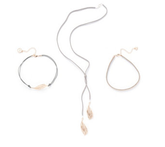 Bibi Bijoux Feather & Crystal Suede Set of Three Necklaces - 316238