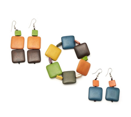 One Button Simply Squares Bracelet & Earrings Set
