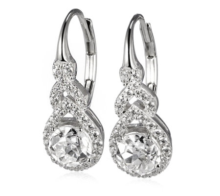 Diamonique 2.5ct tw Twin Star Cut Leverback Earrings Sterling Silver