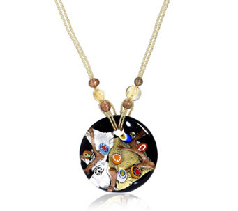 Murano Glass 24ct Gold Leaf Glass Disc 51cm Necklace - 308639