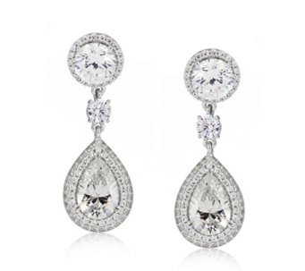 Michelle Mone for Diamonique 6ct tw Pear Cut Drop Earrings Sterling Silver - 309039