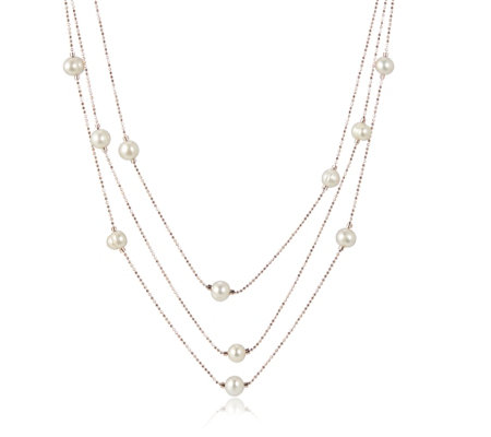 Honora 7.5-8mm Cultured Pearl Multistrand Sparkle Station Necklace
