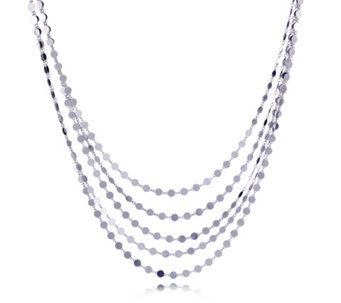 Bianca Platinum Plated Multistrand Disc Necklace Sterling Silver - 307940