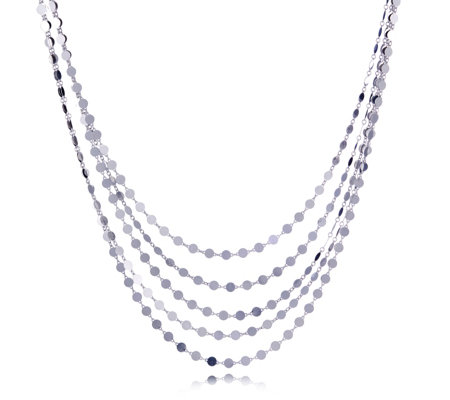 Bianca Platinum Plated Multistrand Disc Necklace Sterling Silver