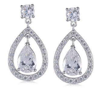 Michelle Mone for Diamonique 5.7ct tw Pear Cut Halo Earrings Sterling Silver - 308240