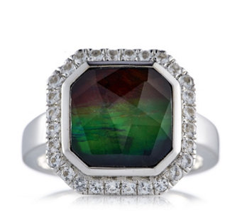 Canadian Ammolite Triplet Faceted Octagonal Ring w/ White Topaz Sterling Silver - 309940