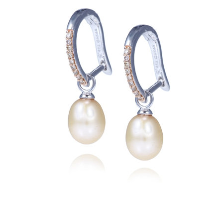 Honora 7-8mm Cultured Pearl & 0.15ct Diamond Drop Earrings Sterling Silver