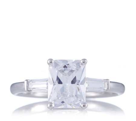 diamonique 4 3ct tw emerald cut ring sterling silver