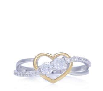 Diamonique 0.5ct tw Heart 2 Tone Ring Sterling Silver - 309841