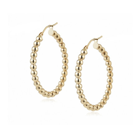 9ct Gold Beaded Creole Hoop Earrings QVC UK
