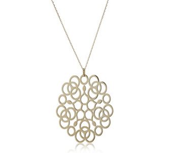 14ct Gold Delicate Lace Filigree Pendant & 46cm Chain - 312841