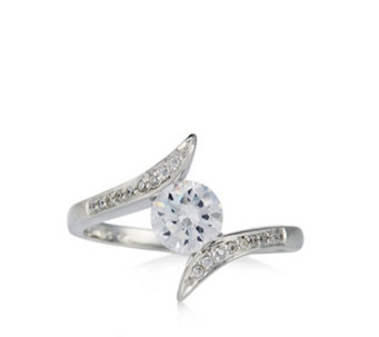 Diamonique 1.1ct tw Solitaire Bypass Ring Sterling Silver - 309142