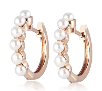 Honora 3.5-4mm Button Cultured Fresh Water Pearl Hoop Earrings Bronze - 309442
