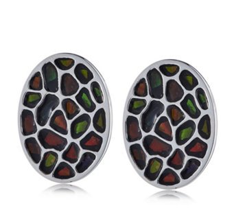 Canadian Ammolite Elements Oval Omega Back Earrings Sterling Silver - 309942
