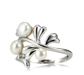 Honora Cultured Pearl Leaf Design Ring Sterling Silver - 316242
