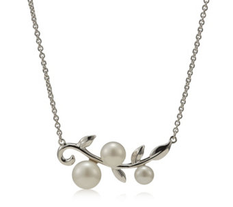 Honora Cultured Pearl Leaf Design 45cm Necklace Sterling Silver - 316243