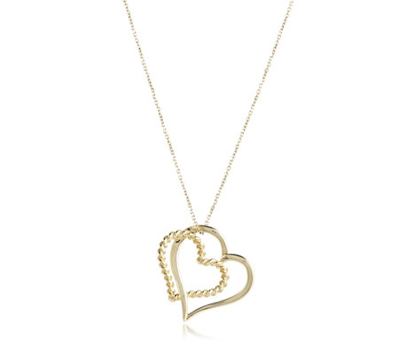 9ct Gold Double Hearts Pendant & Chain