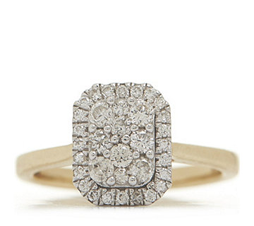 0.50ct Diamond Halo Cluster Ring 9ct Gold - 330645