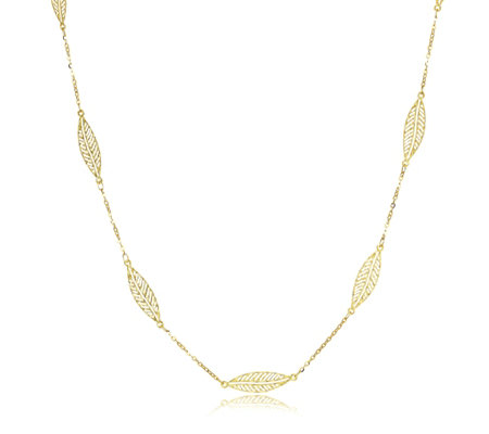 9ct Gold Forzatina Openwork Leaf Necklace