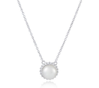 Honora 8-8.5mm Cultured Button Pearl Diamonique Necklace Sterling Silver - 307146