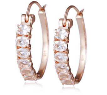 1.7ct Morganite 6 Stone Huggie Earrings Rose Gold Vermeil Sterling Silver - 308247