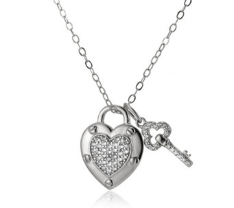 Diamonique by Andrea McLean 0.3ct tw Heart Pendant & Chain Sterling Silver - 309847