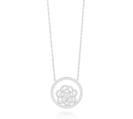 Kim & Co Diamonique 0.8ct tw Flower Pendant & Chain Sterling Silver