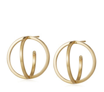 9ct Gold Orbit Illusion 18mm Double Hoop Stud Earrings - 312647