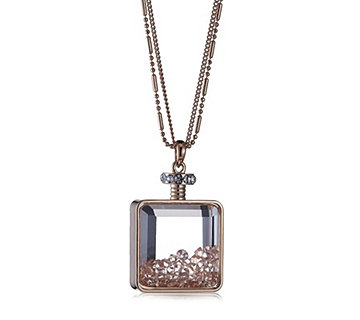 Frank Usher Perfume Bottle Pendant with Pave Crystals & 80cm Chain - 304448