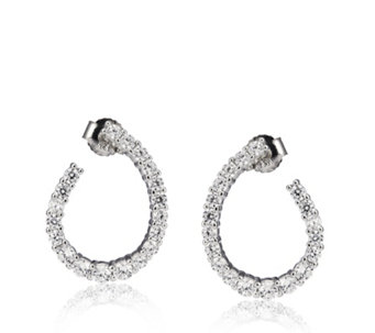 Michelle Mone for Diamonique 1.3ct tw Flat Hoop Earrings Sterling Silver - 308348