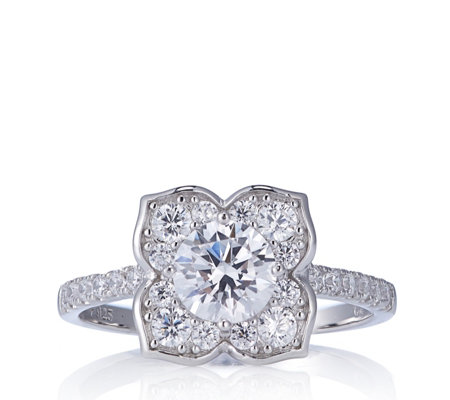 Diamonique 1.5ct tw Flower Ring Sterling Silver