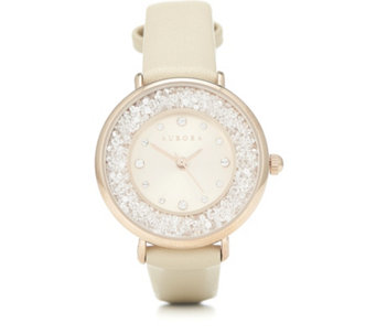 Aurora Swarovski Crystal Filled Watch with Leather Strap - 312448