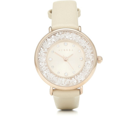 Aurora Swarovski Crystal Filled Watch with Leather Strap