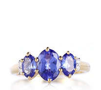 1.9ct AAAA Tanzanite Oval Trilogy Ring Diamond Accent 18ct Gold - 319648