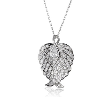 Diamonique 1.7ct tw Heart Angel Wing Pendant & Chain Sterling Silver