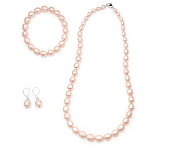 Honora Cultured Pearl Necklace, Earrings & Bracelet Set Sterling Silver - 323049