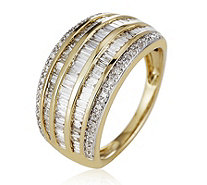 0.75ct Diamond Baguette & Round Cut Band Ring 9ct Gold - 330449