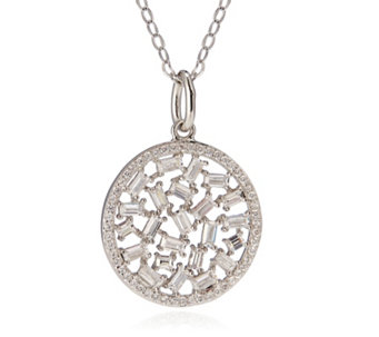 Diamonique 1.9ct tw Scattered Baguette Circle 45cm Necklace Sterling SIlver - 306750