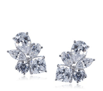 Michelle Mone for Diamonique 4.3ct Mixed Cut Stud Earrings Sterling Silver - 309450
